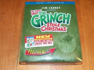 HOW THE GRINCH STOLE CHRISTMAS Deluxe Edition Blu-ray DVD Limited Fur Cover NEW