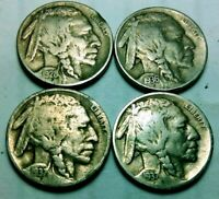 1928-S 1936-S 1937-D 1937-S Buffalo Nickels 5 Cents US Coin lot of 4 coins *