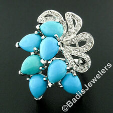 14k White Gold Pear Cabochon Turquoise Round Diamond Ribbon Spray Cocktail Ring
