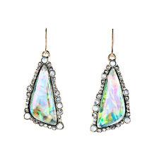Bora Bora Dazzling Drop Earrings Dreamy Design Pave Vintage Rainbow Color Hook