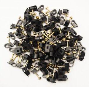500 Pieces Black Single Screw Flex Clips for RG59 RG6 Coax Satellite Cable