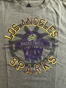 adidas LA Los Angeles Sparks Women's Crew Neck T-Shirt Gray Unisex Medium WNBA