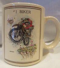 VINTAGE GARY PATTERSON CARTOON #1 BIKER MUG CUP Thought Factory PAPEL JAPAN