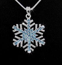"Silver Chain Necklace Blue Frozen Snowflake Austrian Crystal Charm Pendant 20"""