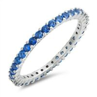 Ring Sterling Silver 925 Rhodium Plated Light Blue Sapphire CZ Width 2 mm Size 6
