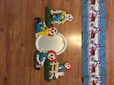 Raggedy Ann and Andy Crib Bedding Set with Vintage Wall Plaques and Mirror