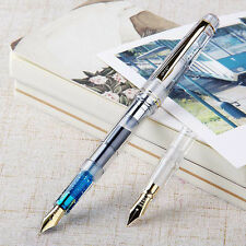 2017 Wing Sung 659 Clear Fountain Pen Screw Golden Clip EF/F 2 Nibs 0.38/0.5mm