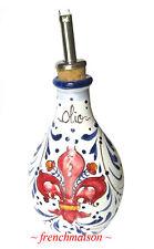 Italian Painted Ceramic FLEUR DE LYS Small Olive Oil Bottle signed FRENCHMAISON