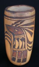 Early 20th Century Hopi Pueblo Polychrome Pottery Cylinder Parrot Vase 6.5-x 3""