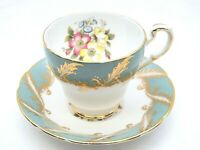 PARAGON Green/Blue Gold Trim CUP & SAUCER By Appointment Queen Floral Flowers