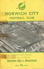 Football Programme - Norwich City v Brentford - Div 3 - 1959