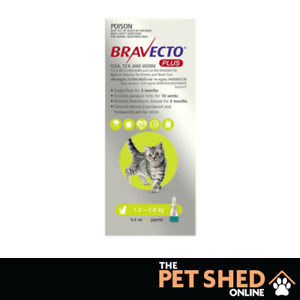 Bravecto Plus Green for Small Cats 1.2 - 2.8kgs Kills Fleas, Ticks, Worms 3 Pack