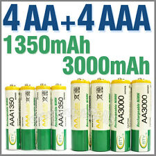 4 AA + 4 AAA 1350mAh 3000mAh 1.2V NI-MH Rechargeable Battery 2A 3A BTY Green