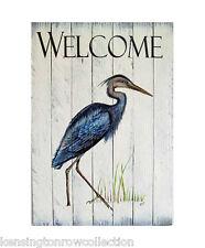 COASTAL WALL ART - WADING HERON WELCOME SIGN - NAUTICAL WOODEN SLAT SIGN
