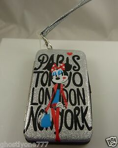 Minnie Mouse wallet fits iphone smart phone case paris london new  ID wristlet