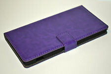 Purple Genuine Leather Flip Wallet Case Cover Stand For Sony Xperia Z2