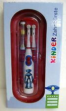 Elektische Kinder Zahnbürste mit 4 Bürsten Batterien Sanduhr - Motiv Roboter NEU