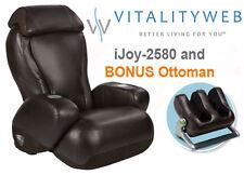 NEW Espresso iJoy 2580 Human Touch Massage Chair Massaging Recliner + Ottoman