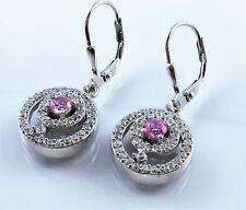 Damen Brisuren Ohrringe 925 Sterling Silber Zirkonia Weiß Rosa Edle Form 30mm