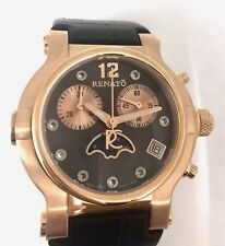 New Ladies Renato Beauty Black Moon Dial Leather Strap Rose Gold Tone Watch