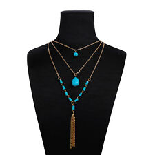 Fashion Bohemian Vintage Multi-layer Necklace Turquoise Tassel Sweater Chain