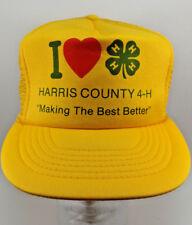 I Love Heart 4-H Vintage Snap back Hat Cap Harris County 4-H Trucker Yellow Mesh