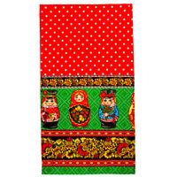 Cotton Kitchen Dish Towel Made Russia Nesting Dolls Folk Pattern Khokhloma 16x28