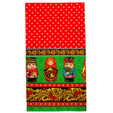 Cotton Kitchen Dish Towel Made Russia Nesting Dolls Folk Pattern Khokhloma 16x28