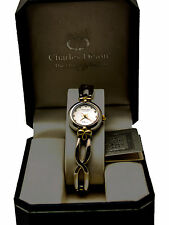 CHARLES DELON:WOMEN'S 3MICRON SILVER PLATED 2TONE FINISH METAL BAND ANALOG WATCH