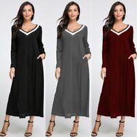 Womens Plain Jersey V-neck Long Sleeve Ladies Party Swing Kaftan Dress Size 8-26