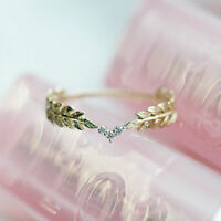 14K Gold Small Fresh Style Leaves Feather Stack Wedding Bridal Wearing Tail Ring