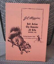 Original JC Higgins 42 .22 Cal. Bolt Action Clip Repeater Rifle Manual 103.19790