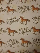 HORSE PONY PONIES HORSES HAPPY BIRTHDAY GIFT WRAPPING PAPER SPORT EQUINE
