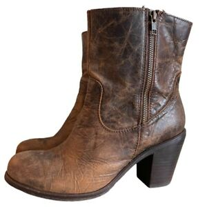 Corral Distressed Leather Ankle Boots~Zip~Size 11~ Indie Spirit~Brown