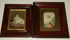 2 - 19TH C BAXTER PRINTS -SO TIRED & THE BRIDE -QUEEN VICTORIA MAHOGANY FRAMED