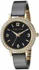 Anne Klein Swarovski Crystals Black Ceramic 32mm Ladies Watch AK/2348BKDB NEW