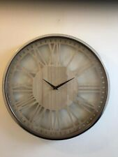 Contemporary Numeral Clock With Wooden Face Round Numeral Chrome Finish Clock