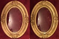 """Antique 2 OVAL SHADOW PICTURE FRAMES 2-1/4"""" High Convex Glass ROSES RIBBONS NR"""