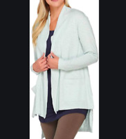 Women's Light Blue Cotton Slub Cardigan Size S - LOGO Lounge Lori Goldstein QQ29