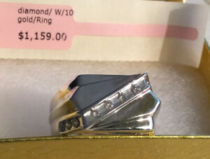 Mens 10K White Gold Ring with Diamonds In Channel NEW Rectangular