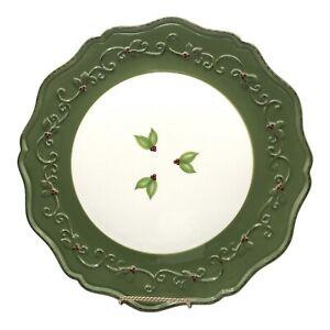 """The Princess House Pavillion Holiday Sage Green 12"""" Holiday Chop Platter. China"""