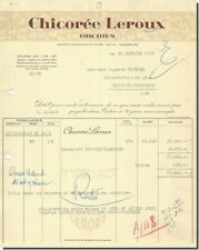 Facture - Chicorée Leroux à Orchies 1955