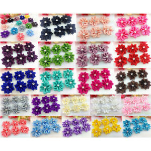 10-80Pcs DIY Satin Ribbon Flower with Crystal Bead Appliques Craft/Trim