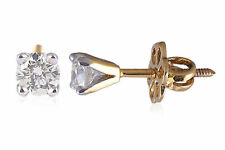 1/5 Cts Round Brilliant Cut Natural Diamonds Stud Earrings In Certified 18K Gold