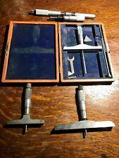 4 Micrometers Lufkin Rule Starret Brown Amp Sharpe Depth Micrometer