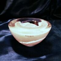KOSTA BODA Anna Ehner Atoll Hurricane White Swirl Art Glass Bowl Sweden