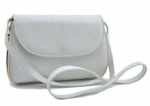 Authentic GUCCI Shoulder Cross Body Bag Leather White E2579