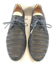 Hispanitas Dark Blue Suede Perforated Jeans Oxford Shoes Womens Size EUR 39M