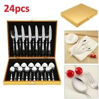 24 Pcs Stainless Steel Luxury Cutlery Set Stylish Knife Spoon Fork and Teaspoons