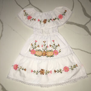 Traditional Mexican Embroidered Flower Dress Girls Size XS